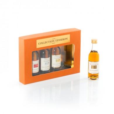 Réalisation d'un coffret pour mignonnettes de cognac Tesseron. Création et fabrication Thibault-Bergeron.