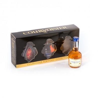 Coffret avec fenêtres transparentes pour mignonnettes de cognac Courvoisier