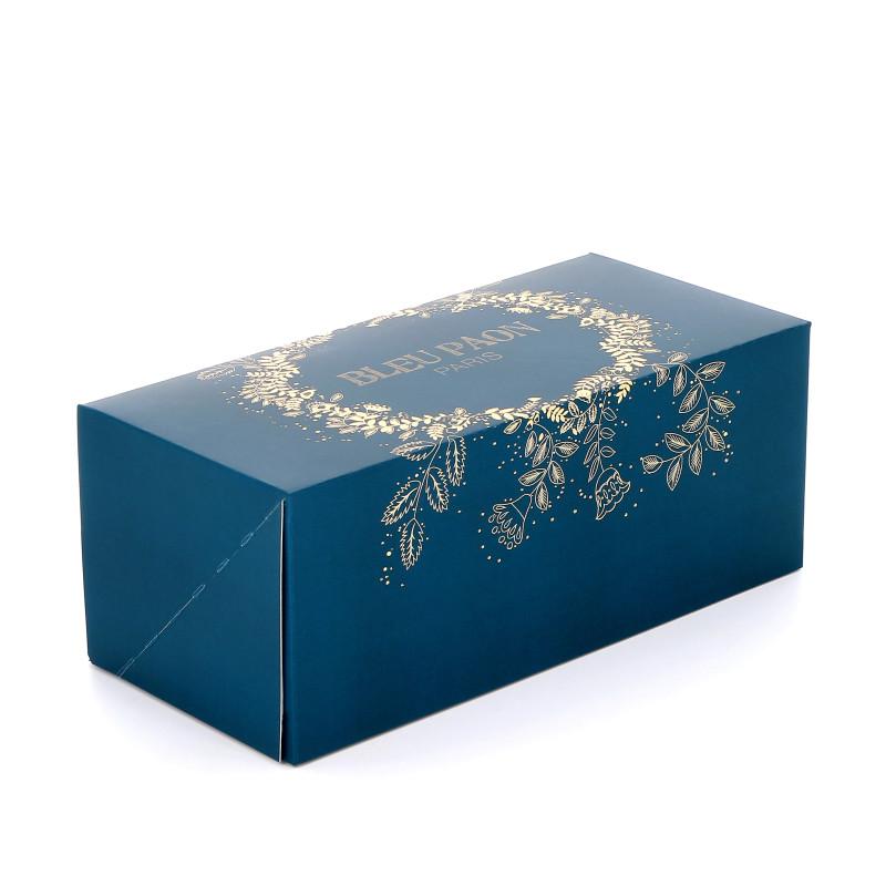 Boîte buche bleu paon couronne